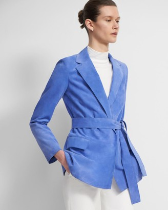 Theory Belted Blazer in Suede