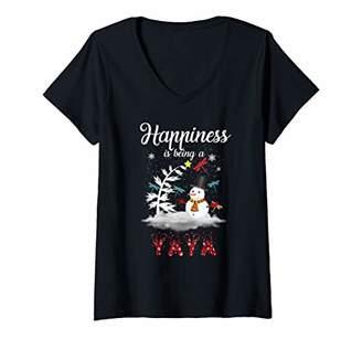 Ya-Ya Womens Happiness Is Being A Snowman Christmas Gift Xmas V-Neck T-Shirt