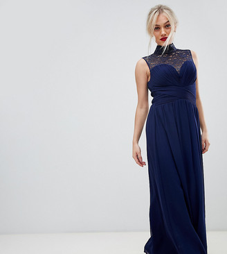 Little Mistress Petite foiled lace yoke high neck maxi dress-Navy