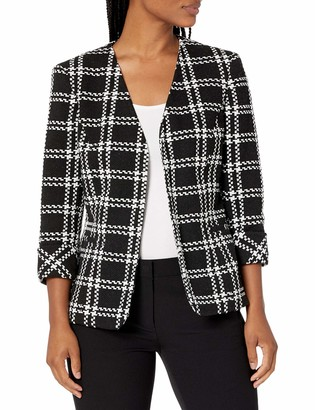 Kasper Women's Knit Plaid Fly Away Jacket with Cuff Sleeve Detail
