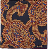 Drakes Drake's Men's Paisley Twill Pocket Square-NAVY