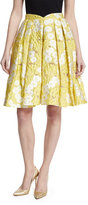 Zac Posen Floral Jacquard Pleated Skirt, Yellow