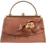 Judith Leiber Embellished Karung-Trimmed Handle Bag