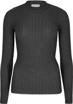 Apricot Charcoal Ribbed Turtle Neck Top