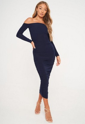 Missguided Navy Slinky Ruched Bardot Midaxi Dress