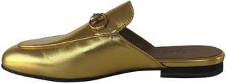 Gucci Princetown Gold Leather Flats
