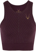 Lucas Hugh Stardust Metallic Stretch-jersey Sports Bra - Plum
