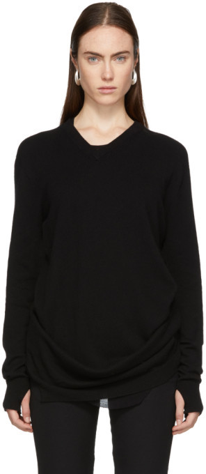 Boris Bidjan Saberi Black Cashmere V-Neck Sweater