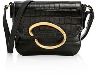 Oscar de la Renta Oath Croc-Embossed Leather Crossbody Bag