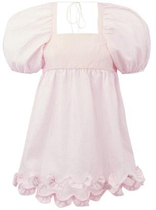 Cecilie Bahnsen Kornelia Puff-sleeve Floral-cloque Top - Pink