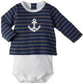 Petit Bateau Bodysuit & Striped Blouse Set (Baby) - Blue/Green-18 Months