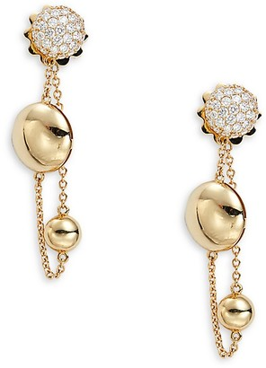 Roberto Coin 18K Yellow Gold Diamond Gold Disc Drop Earrings
