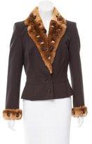 John Galliano Fur-Trimmed Wool-Blend Blazer