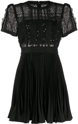 Self-Portrait sequinned mesh puff-sleeve dress