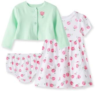 Little Me Rose 3-Piece Dress & Cardigan Set
