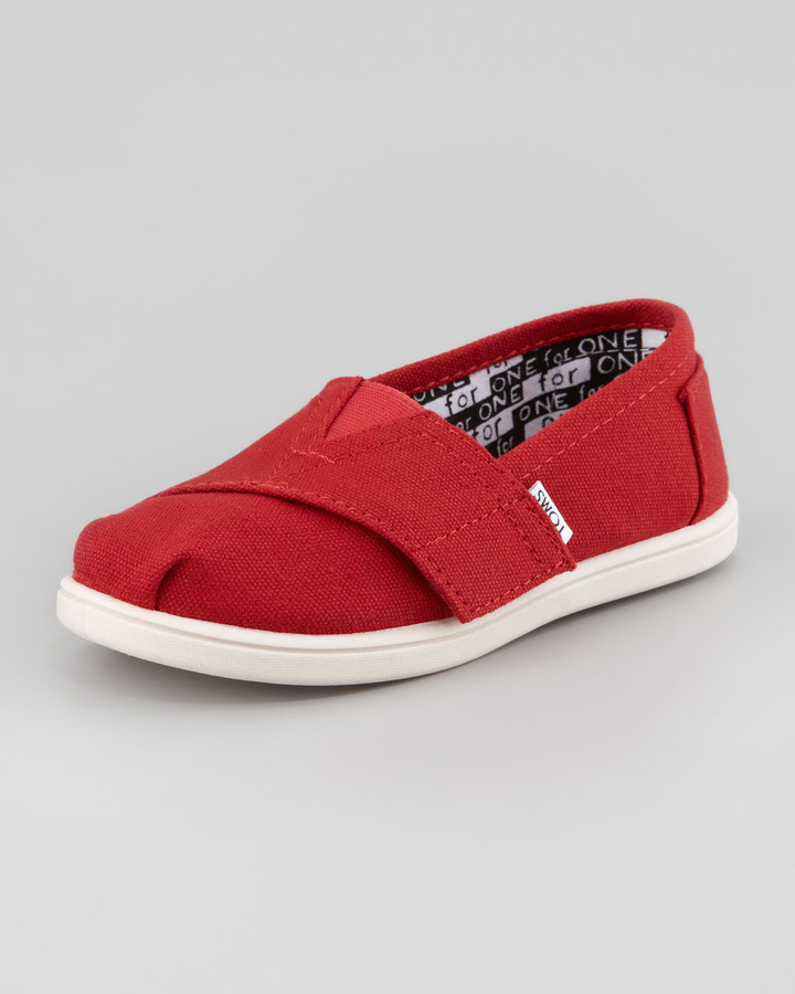 Toms Classic Canvas Slip-On, Red, Tiny
