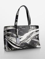 Calvin Klein Platinum Edged Brushstroke Leather Tote Bag