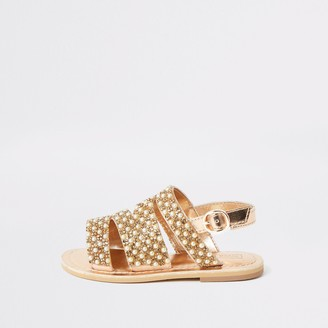 River Island Mini girls Gold embellished strappy sandals