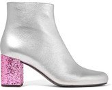 Saint Laurent Babies Metallic Leather Ankle Boots - Silver