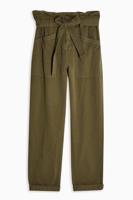 Topshop Womens Khaki Paperbag Utility Trousers - Khaki