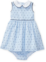 Ralph Lauren Sleeveless Striped Anchor Dress w/ Bloomers, Blue, Size 6-24 Months