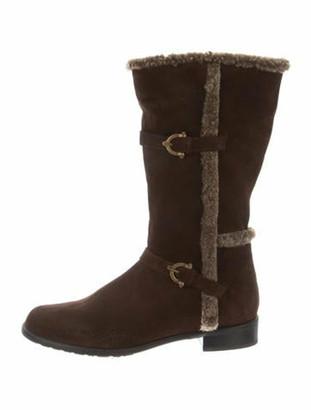Stuart Weitzman Shearling-Trimmed Mid-Calf Boots