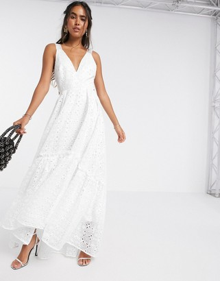 ASOS EDITION shimmer broderie trapeze maxi dress