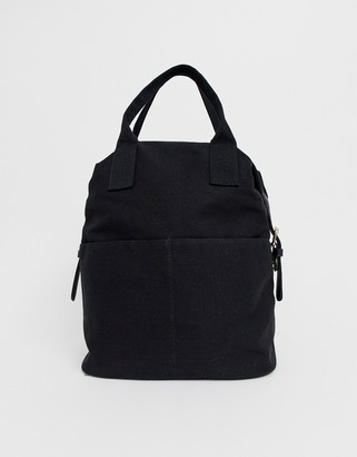 Asos Design DESIGN zip over canvas backpack with double handle-Black