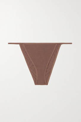 Skin + Net Sustain Galila Stretch Organic Pima Cotton-jersey Briefs - Brown