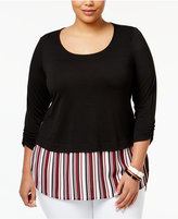 NY Collection Plus Size Knit Layered-Look Top