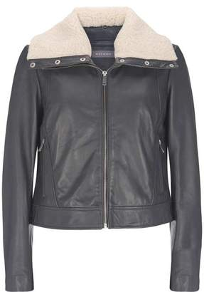 Mint Velvet Smoke Grey Borg Leather Jacket