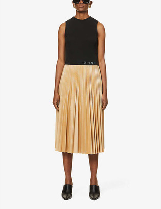 Givenchy Logo-print pleated woven and faux-leather midi dress