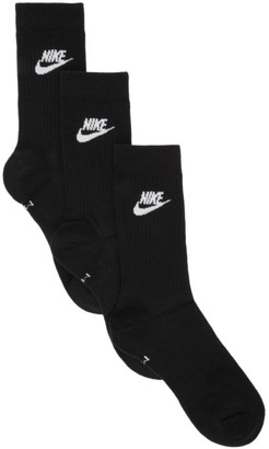 Nike Three-Pack Black Everyday Essential Crew Socks