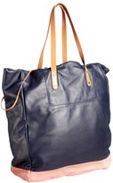 Paul Smith navy and pink leather two-tone drawstring tote bag