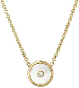 Mother of Pearl Mini White Compass Necklace - Yellow Gold
