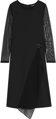 DKNY Tulle And Georgette-paneled Jersey Dress