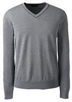 Classic Men's Tall Supima Cotton Tipped V-neck Sweater-Light Blue