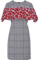 MSGM Floral-Print Faille-Paneled Checked Wool-Blend Mini Dress