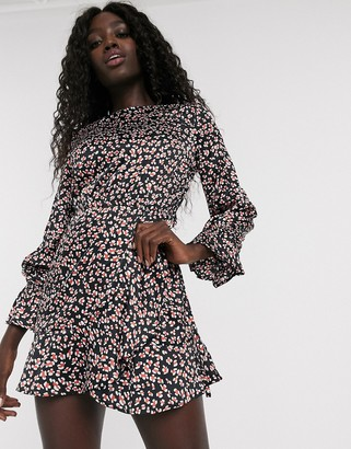 Influence satin skater dress in abstract leopard print