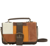 Brown Patchwork Satchel