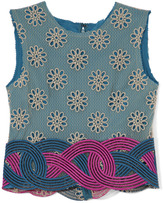 Rodarte Teal And Tan Lace Sleeveless Top With Teal And Magenta Appliqued Lace Trim