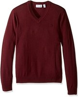 Lacoste Men's 100% Lambswool V Neck Sweater with Tonal Croc