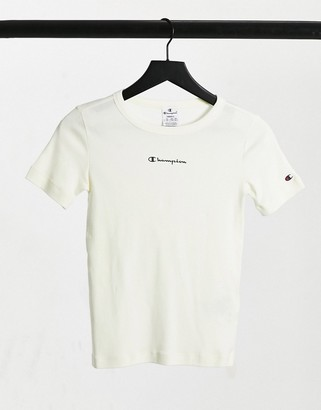 Champion crew neck t-shirt in off white