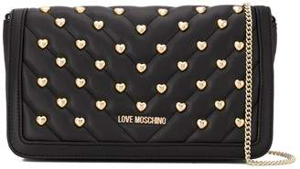 Love Moschino heart studs quilted crossbody bag