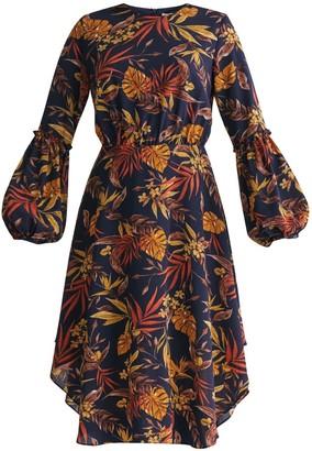 Paisie Midnight Floral Dress With Balloon Cuffs In Navy Midnight Floral Print