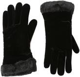Cejon Black Velvet Faux Fur-Cuff Glove