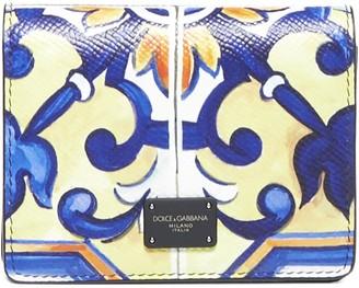 Dolce & Gabbana Majolica Print Calfskin Shoulder Wallet