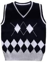 Happy Cherry Unisex Kids Fabtics Waistcoat Argyle V-Neck Sweater Vest 6T