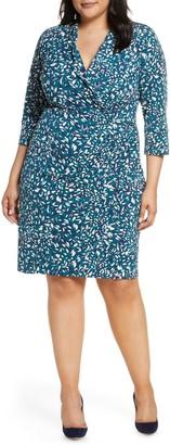 Brinker & Eliza Faux Wrap Collared Shirt Dress (Plus Size)