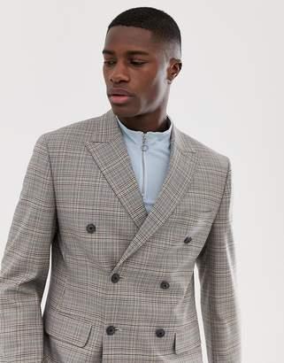 Asos Design DESIGN slim double breasted blazer in grey check